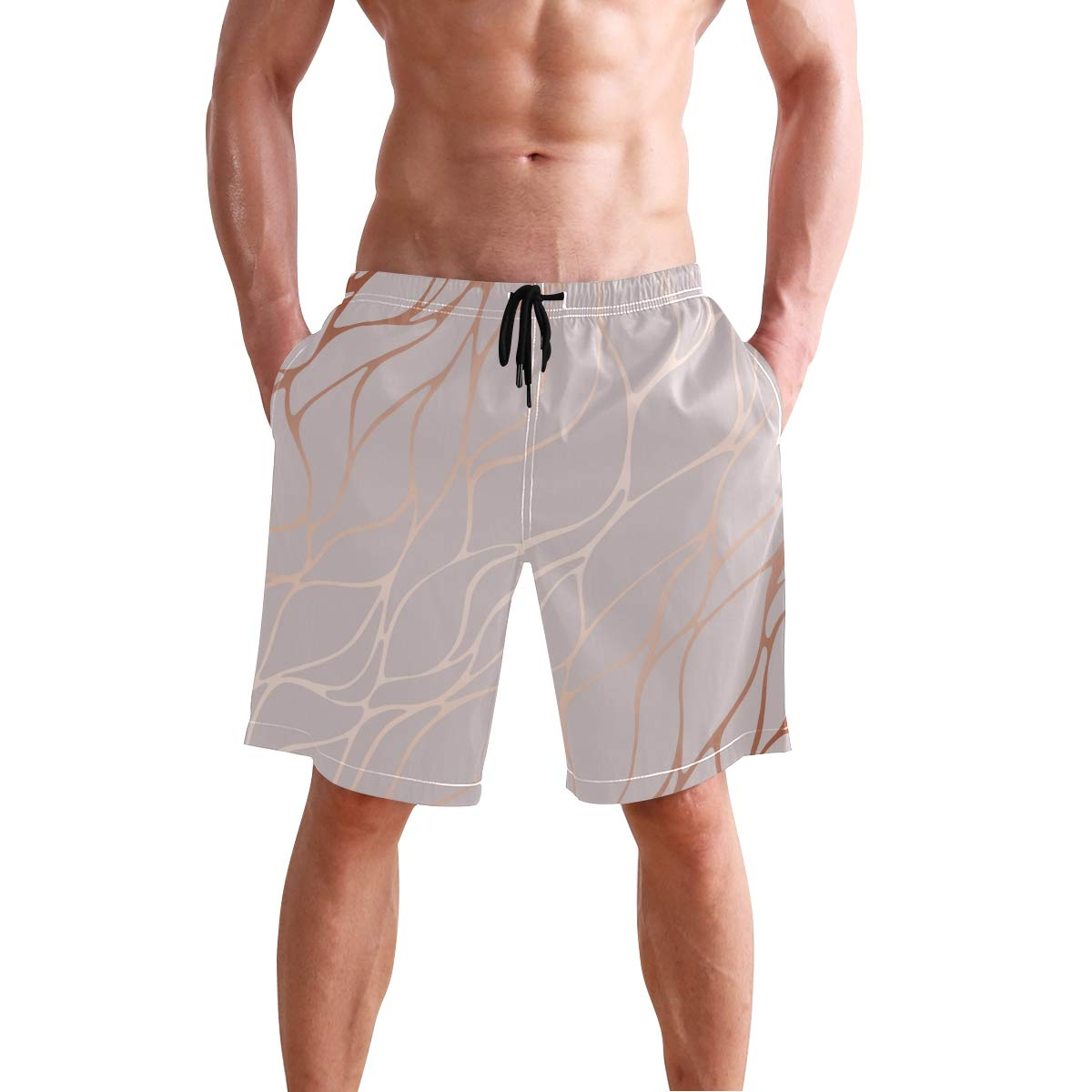 AUUXVA KUWT Mens Swim Trunks Abstract Marble Pattern Quick Dry Beach Shorts Summer Surf Board Shorts