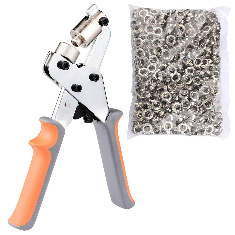 PVC, Tarpaulin, Clothes, Bags and Boxes Portable Metal Manual Grommet Machine 500 Grommets Eyelet Hand Press Tool Banner