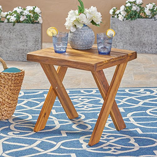 Great Deal Furniture 304414 Irene Outdoor Acacia Wood Side Table, Teak, Sandblast Finish