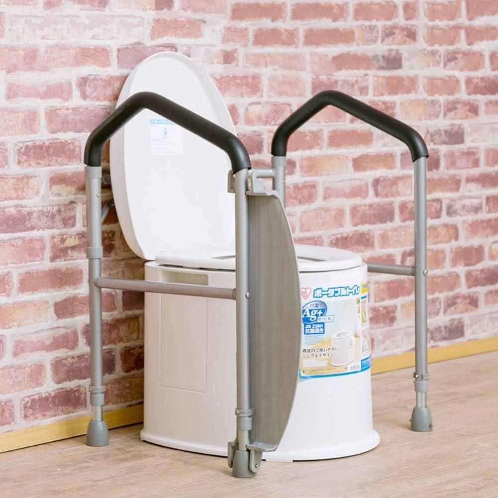 AXD Eldery Foldaway Toilet Surround Safety Frame, Fully Folding Anti-Slip Toilet Grab Bars with Footrest, Adjustable Height Bathroom Handrail