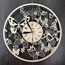 Butterfly Wall Clock Made of WOOD - Perfect and Beautifully Cut - Decorate your Home with MODERN ART - UNIQUE GIFT for Him and Her - Size 12 Inches