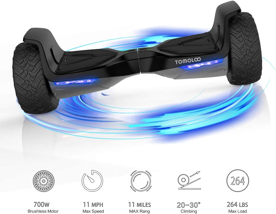 TOMOLOO Hover Board UL2272 Certified 8.5 All Terrain Wheels Off-Road App Controlled Electric Self Balancing Scooter for Kids and Adults with Bluetooth Speaker and LED Light