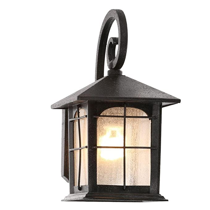 Amazon.com: Home Decorators Collection Brimfield 1 Light Aged Iron Outdoor  Wall Lantern: Office Products