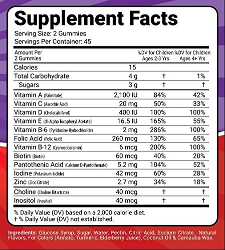 Kosher/Halal Certified YUMMY Chewable Children Multivitamin Kiddies Gummy for Active Kids with Complete Daily Supplements- 90 counts Made in USA