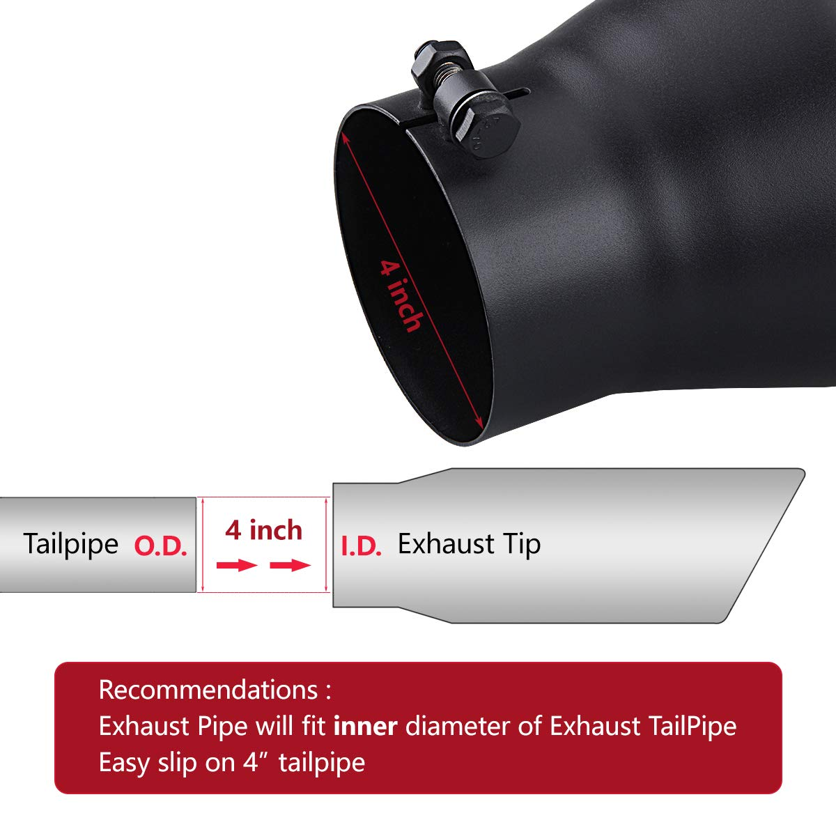 6 outlet 18 Long Exhaust Tip Black Powder Coated Rolled End Angle Cut LCGP Diesel Truck Tailtip 4 inlet