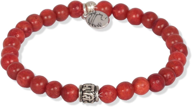 Anisch de la Cara Hombre Pulsera Little Coral - Pulsera de Piedras Preciosas con Cuentas de Mantra para Hombre con Plata de Ley, 6 mm Mantra Beads - Arte no 93360-d.1