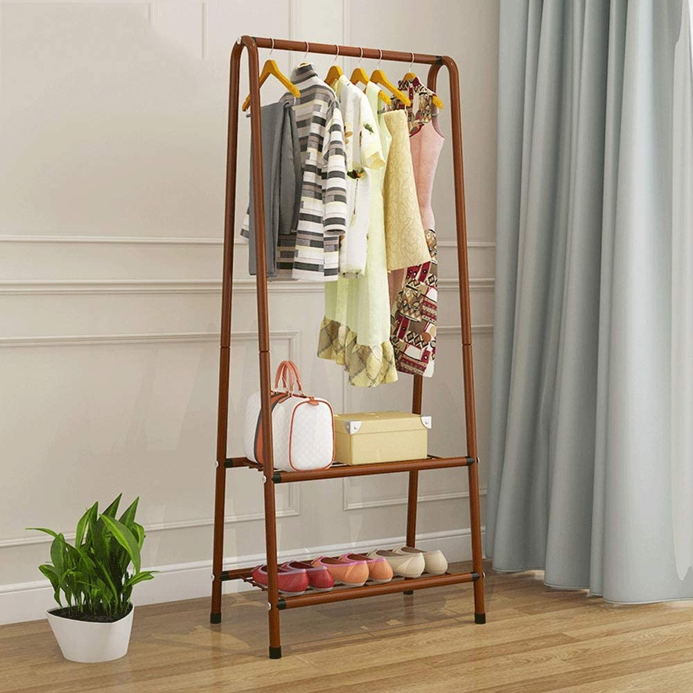 Home Equipment Stand Storage Rack Modern Minimalist Heavy Duty Metal Clothes Rail Stand With Hanging Rail And 2 Tier Lower Storage Shelf for Home Office Hallway Bedroom Versatile Usage for Bags Hat