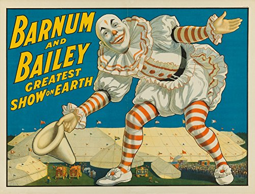 Barnum and Bailey - Greatest Show on Earth (clown in front of tents) Vintage Poster USA c. 1917 (24x36 Collectible Giclee Gallery Print, Wall Decor Travel Poster)
