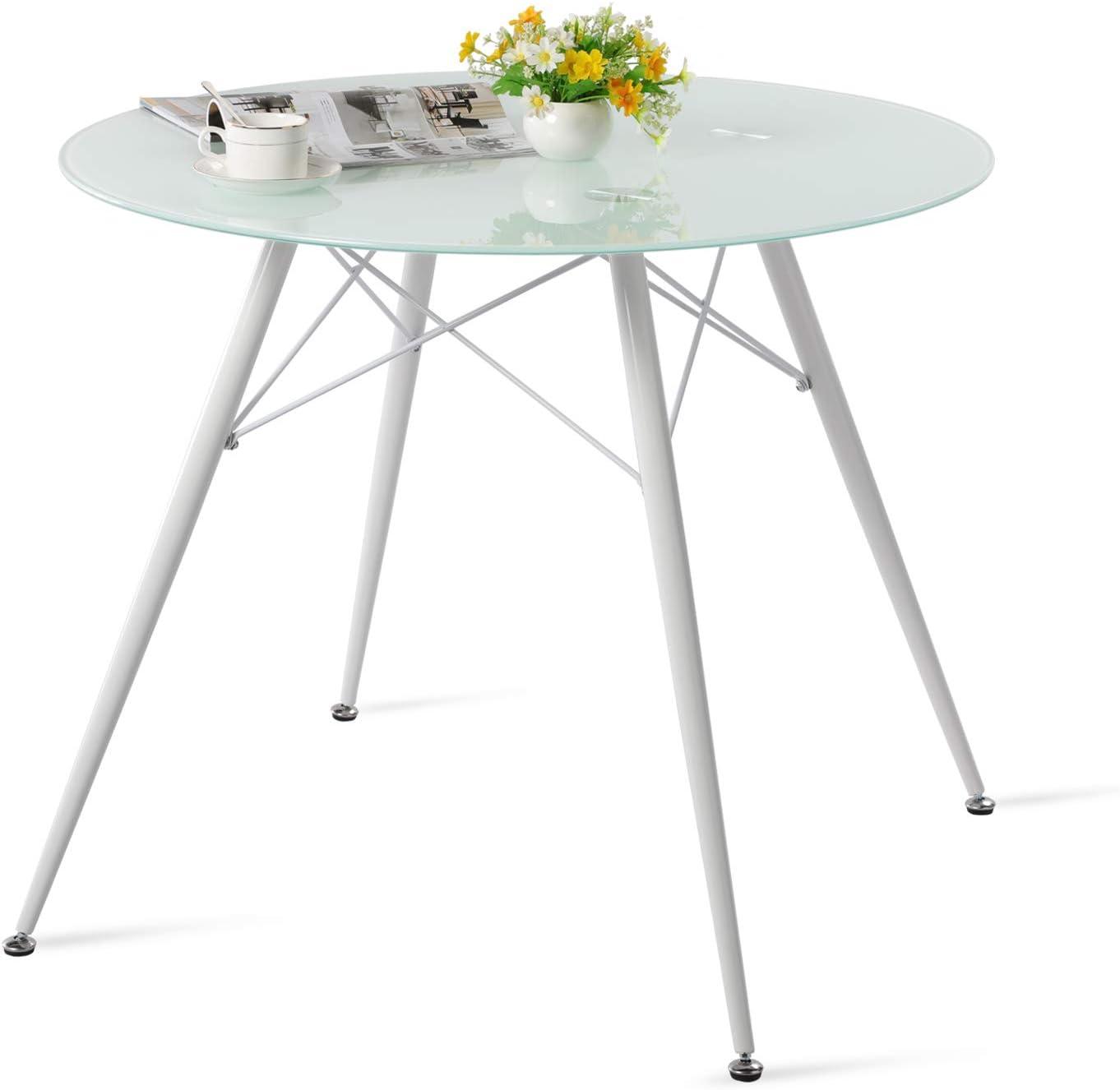 90x90x75cm Bianco IPOTIUS Moderno Tavolo da Pranzo in Vetro Rotondo per 4 Persone Gambe in Metallo Bianca e Doghe in Metallo Tavolo da Cucina