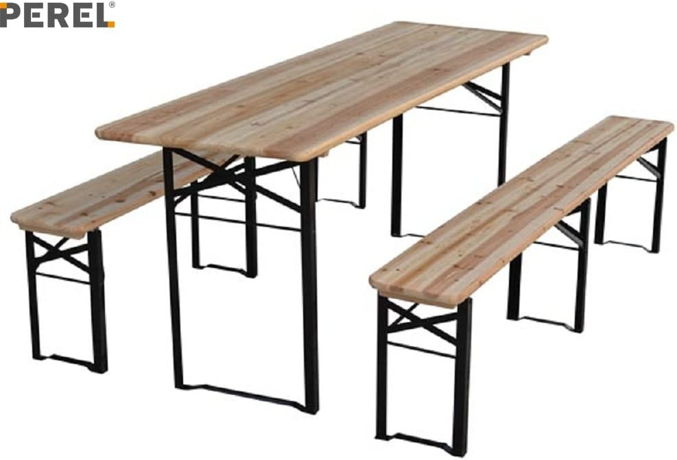 Table Brasserie Bois Avec 2 Bancs 220 X 80 X 76 Cm Amazon Fr