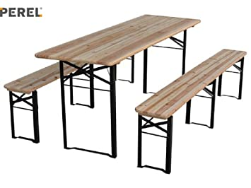 TABLE BRASSERIE BOIS - AVEC 2 BANCS - 220 x 80 x 76 cm: Amazon.fr ...