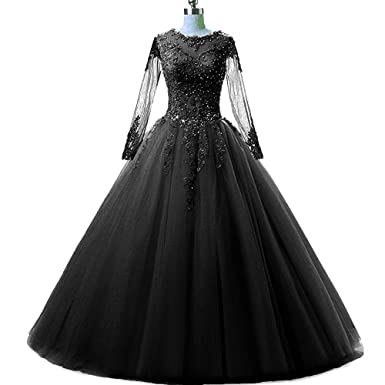 MEILISAY Womens Long Sleeves Prom Ball Gowns Beading Quinceanera Dresses with Appliques Evening Formal Dresses