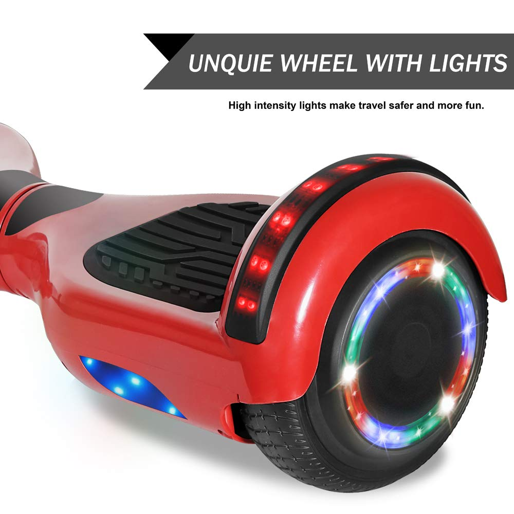 CHO POWER SPORTS Hoverboard Electric Self Balancing Scooter 6.5 Wheel with Built in Bluetooth Speaker LED Side Lights Kids Gift Safety Certified