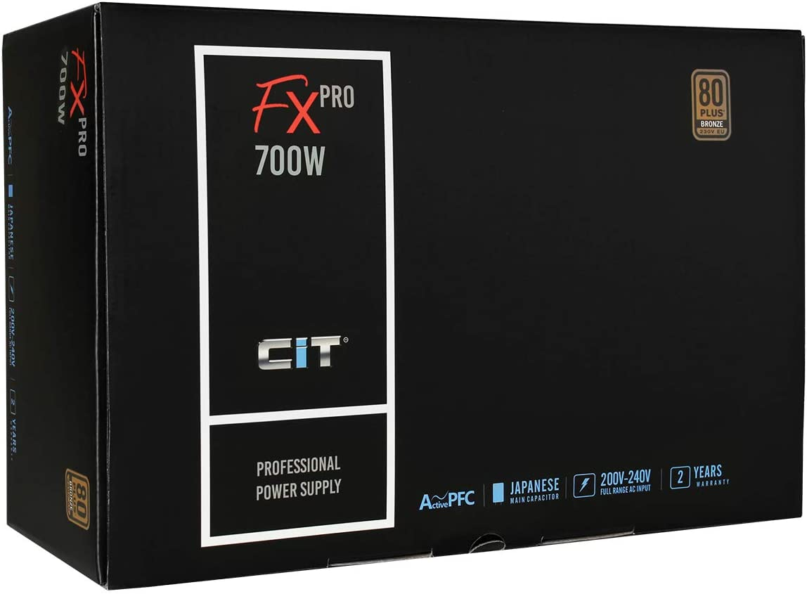 88/% Efficiency Japanese Tk Main Capacitor CiT FX Pro 700W Power Supply A Power Supply for Pro gamers 80 Plus Bronze Black APFC 14cm Cooling Fan Non Modular