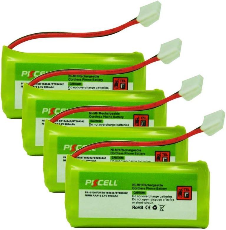 PKCELL - Batería recargable para teléfono inalámbrico (4 unidades, 2,4 V, 800 mAh, Ni-MH)