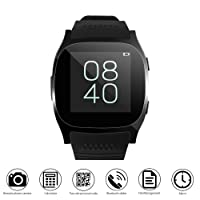 T8 Bluetooth Smartwatch, ALLOMN Touch Screen Wristwatch with Camera Support SIM TF Card Facebook Whatsapp Sync SMS Pedometer Sleep Monitor Sedentary Reminder For iOS Android, Black