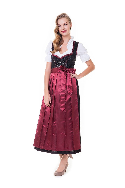 Alpenmärchen, 3tlg. Dirndl-Set - Trachtenkleid, Bluse, Schürze, Gr. 34-60, weinrot - ALM500w