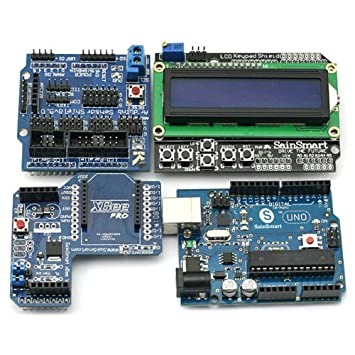 SainSmart UNO + 1602 LCD tablero Shield + XBee Shield + Sensor Shield V5,0 Starter Kit for Arduino UNO Duemilanove MEGA Robot: Amazon.es: Electrónica