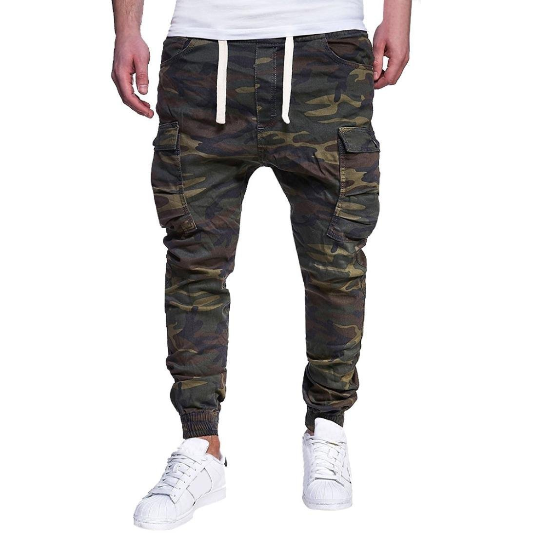 HTHJSCO Men's Slim Fit Cotton Twill Chino Jogger Pants, Men's Sport Camouflage Lashing Belts Casual Loose Sweatpants (Army Green, XL)