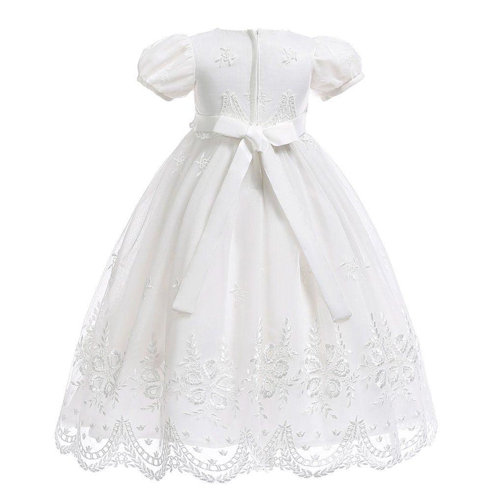 Coozy Baby Girls Christening Dress Baptism Growns Party Wedding Formal Dress with Bonnet