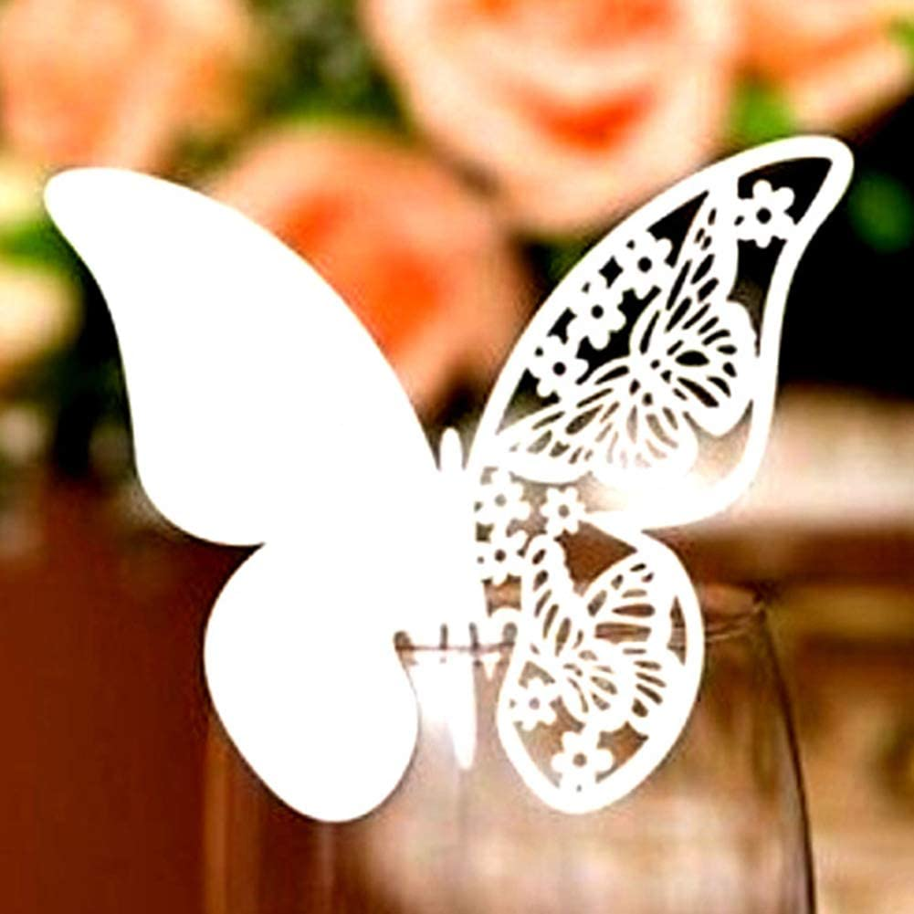 100 Pieces Butterfly Name Place Card for Wedding Champagne Wine Glass Party Table Number