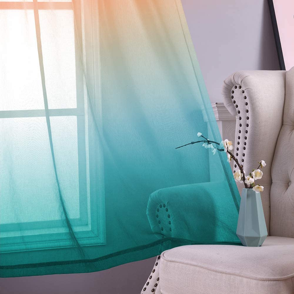 W52 x L84,Orange to Cyan YZhome Orange and Cyan Sheer Curtains for Kids Room 2 Panel,Lovely Multicolor Aqua Teal Ombre Voile Drapes Grommet Faux Linen Curtain for Party Birthday Decoration Supplies