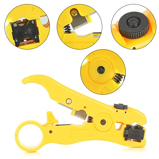 Yiruy Rotary Adjustable Multi-Function Coaxial Cable Stripper Stripping Tool Seperator Ethernet Cord Plier Alicate Kit - - Amazon.com