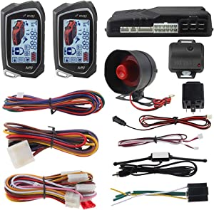 EASYGUARD EC201-M9 2 Way Car Alarm System with 1.73 inch Big LCD Pager Display Remote Starter Turbo Timer Mode Shock Warning DC12V