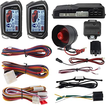 EASYGUARD EC204 2 Way car Alarm System with PKE Passive keyless Entry Rechargeable LCD Pager Display /& Shock Warning DC12V