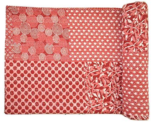 Handcrafted Quilted Throw (Handcrafted, Decorative, Reversible, Patchwork, Block Printed, Hand Quilted Kantha Stitch Quilt, Throw, Bedspread. X1234)