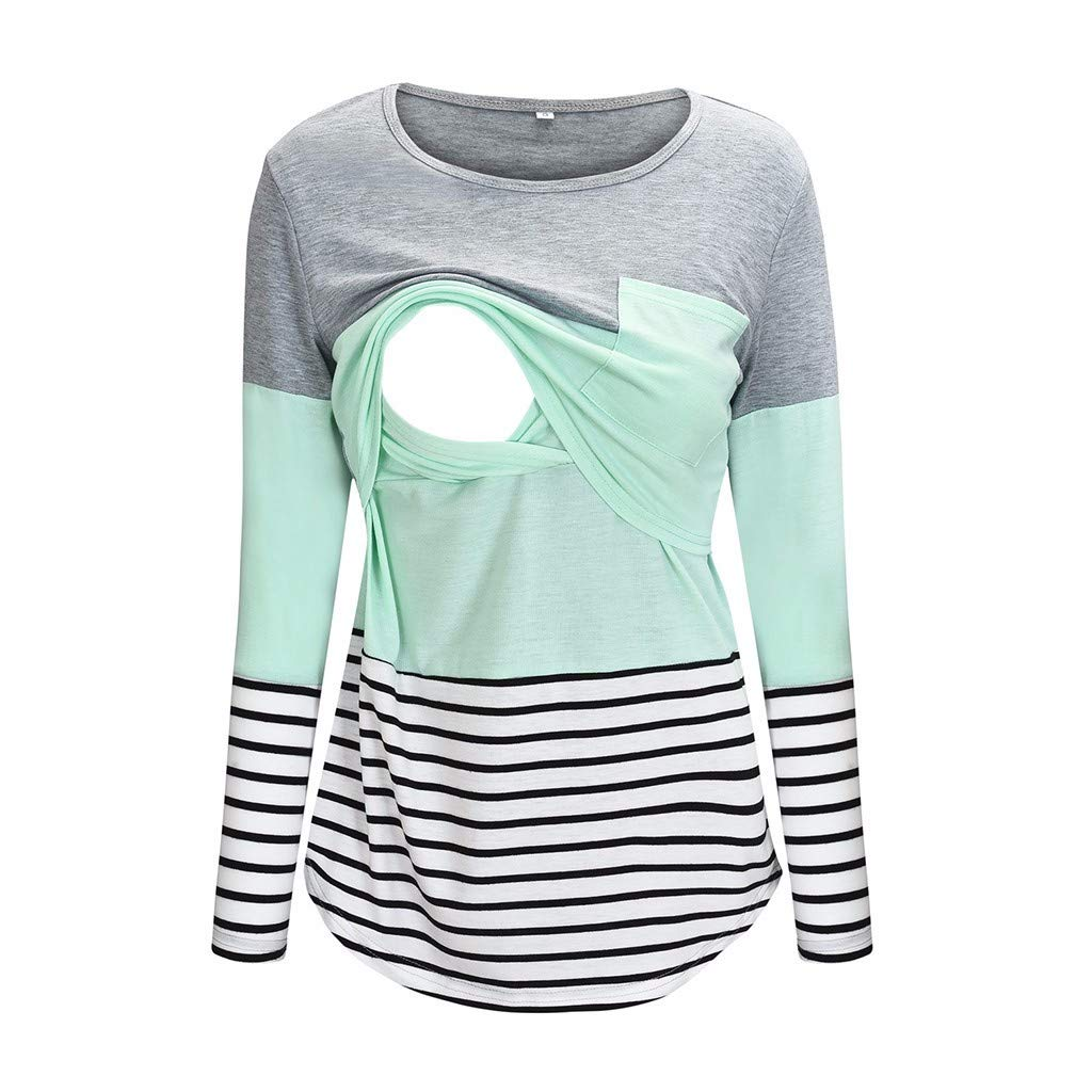Women's Nursing Hoodie Sweatshirt Long Sleeves Breastfeeding Maternity Tops Casual Clothes