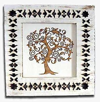 Cuadro árbol de la Vida Marco marquetería (70 x 70 cm)