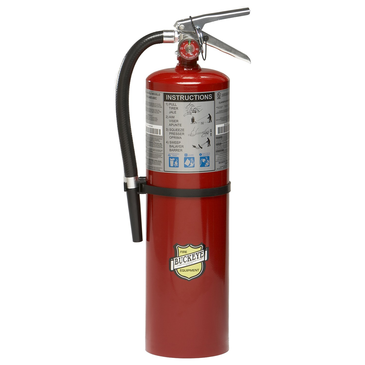 Buckeye 11340 ABC Multipurpose Dry Chemical Hand Held Fire Extinguisher with Aluminum Valve and Wall Hook, 10 lbs Agent Capacity, 5-1/8