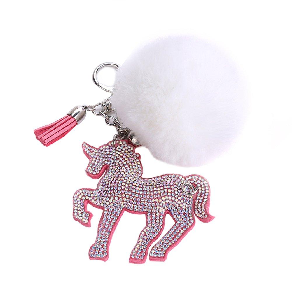 Catnew Fashion Cute Cartoon Fluffy Faux Fur Rhinestone Unicorn Keychain Bag Handbag Wallet Car Pendant Keyrings (White)