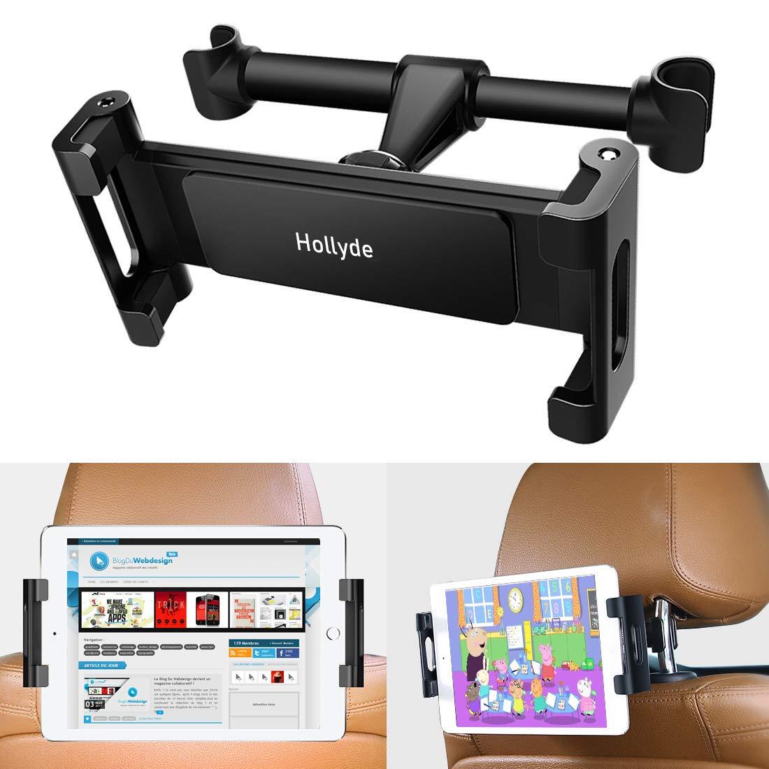 Supporto per tablet per auto poggiatesta, girevole a 360 ° regolabile, universale per tablet da 4,7-12,9 pollici, iPad, smartphone, e-reader.(Nero) girevole a 360 ° regolabile Hollyde