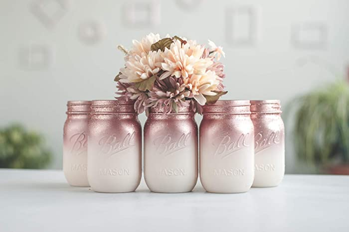 Mason Jar Wedding Centerpieces.Amazon Com Set Of 12 Ombre Rose Gold Mason Jar Vases For Wedding