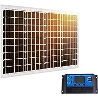 SARONIC El Mono Panel Solar de 40W 12V con la Línea de 0.9M MC4 para la Caravana, Campista, Barco + 20A Controlador Solar del Cargador