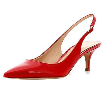 ELASHE Damen Kitten-Heel Pumps  65mm Pointy Toe Slingback Sandalen  Hochzeit Schuhe
