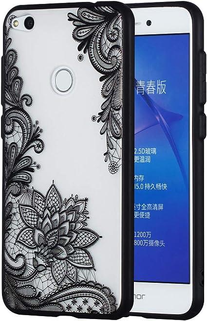 CoverTpu Cover per Huawei P8 Lite 2017, Nero Cover per Huawei P8 Lite 2017 Silicone Trasparente Rigida, Custodia per Huawei P8 Lite 2017 in Hard PC ...