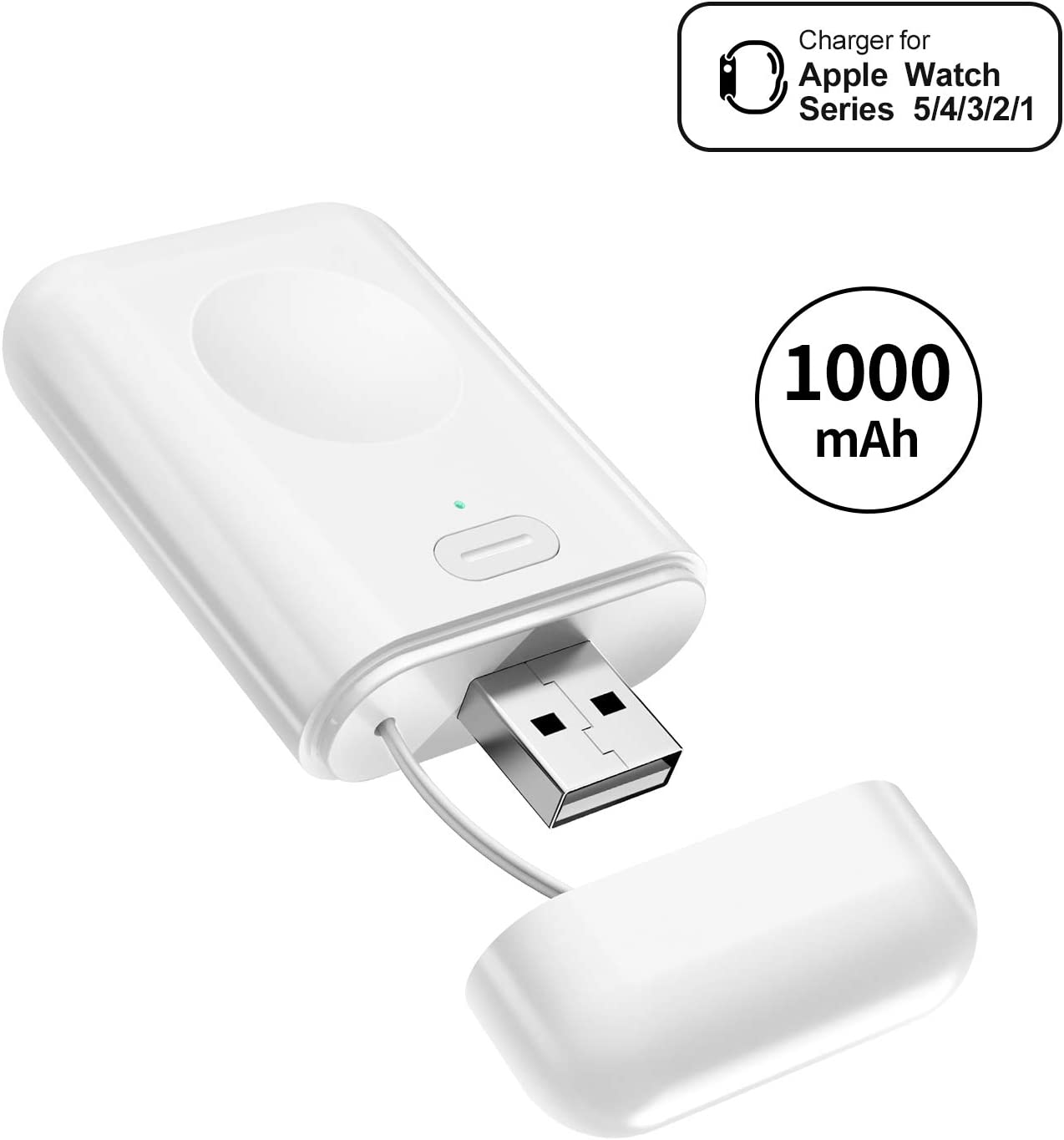 NEWDERY Charger for Apple Watch 5, 1000mAh Power Bank Wireless Charging USB Charger Compatible for all Apple Watch Series 54321, Nike+, Hermes,