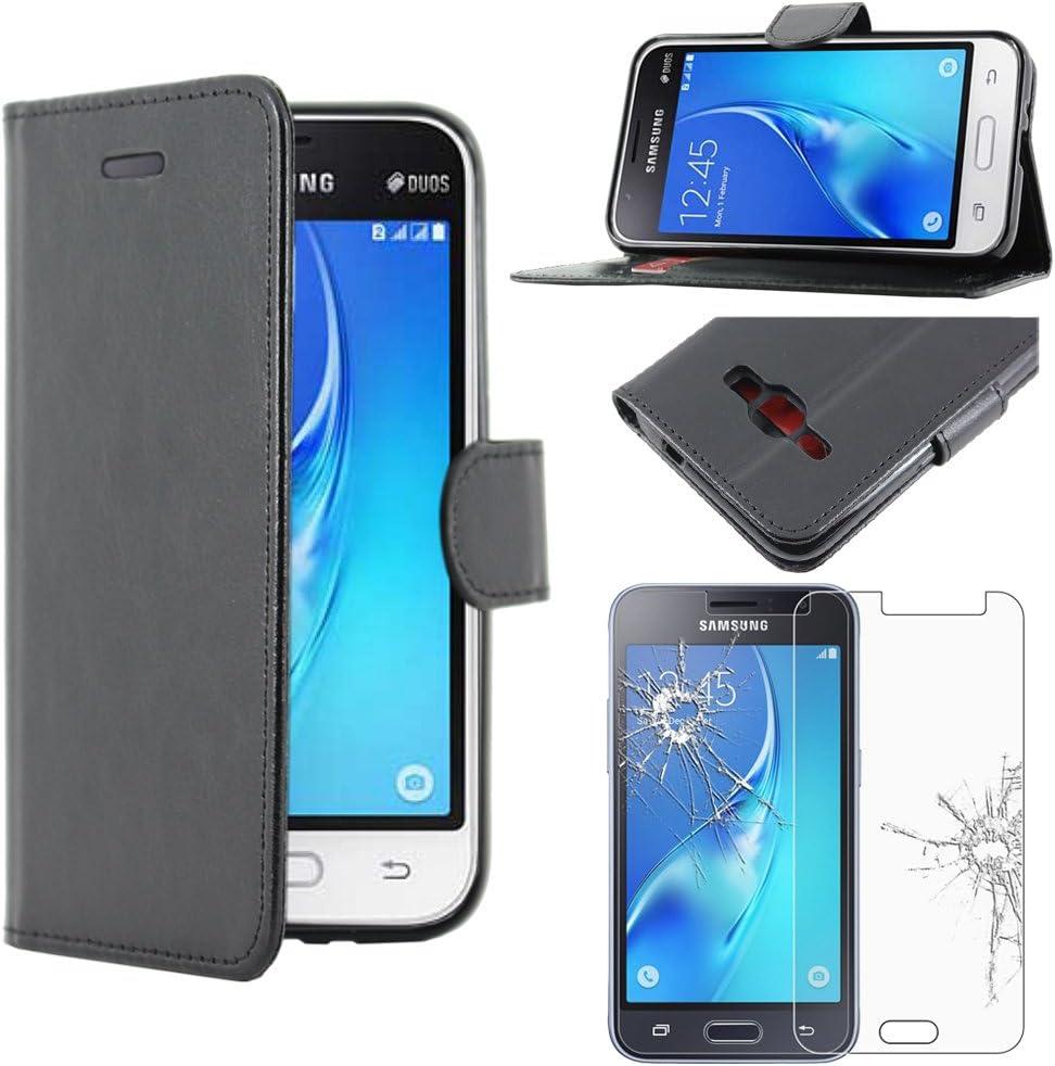 ebestStar - Coque Compatible avec Samsung J1 Galaxy J1 2016 4G SM-J120F Etui PU Cuir Housse Portefeuille Porte-Cartes Support, Noir Verre Trempé ...