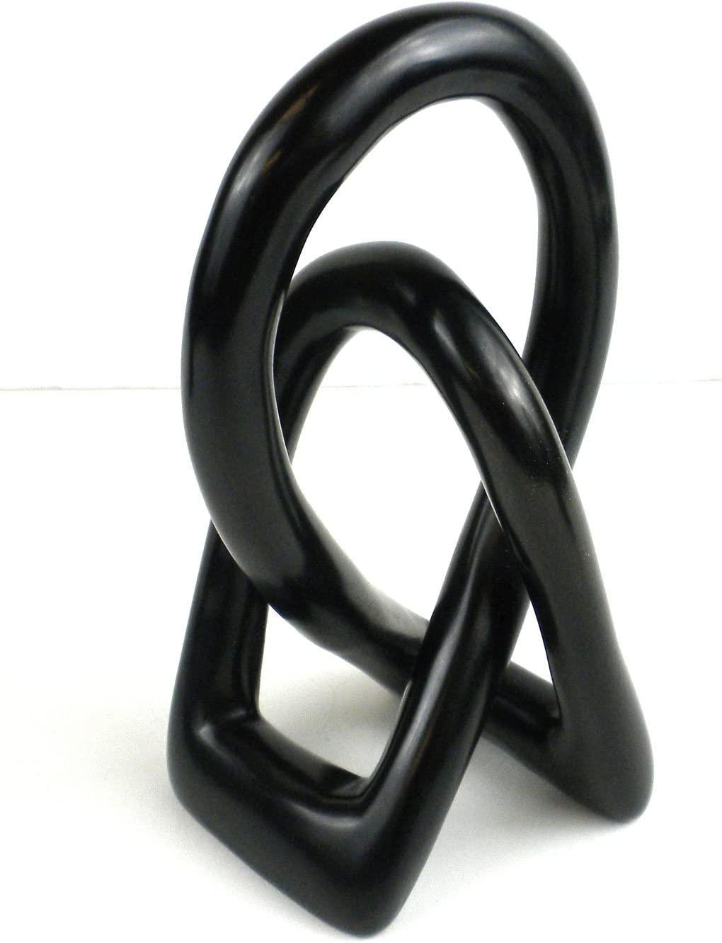 Natural Soapstone 6-inch Lover's Knot in Black