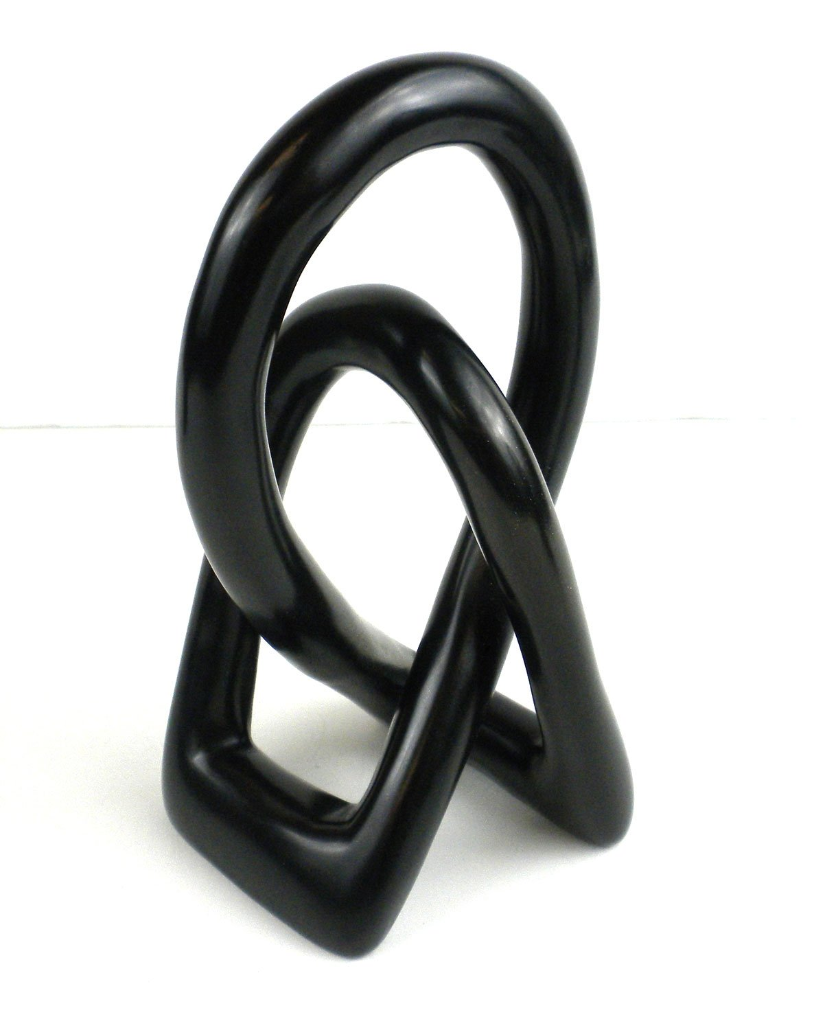 Global Crafts Natural Soapstone 8-inch Lovers Knot in Black
