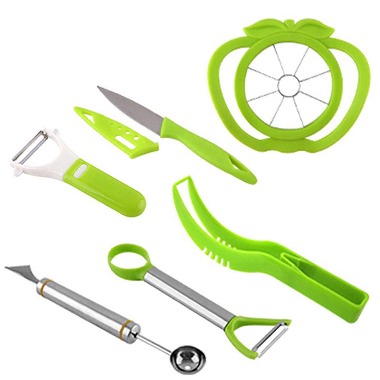 NewFerU Plastic Stainless Steel Kitchen Fruit Carving Tool Set Garnishing Melon Baller Scoop Spoon Knife Shapes Kit With Apple Cutter Corer, Watermelon Slicer Cutter Server and Peeler Pack of 6