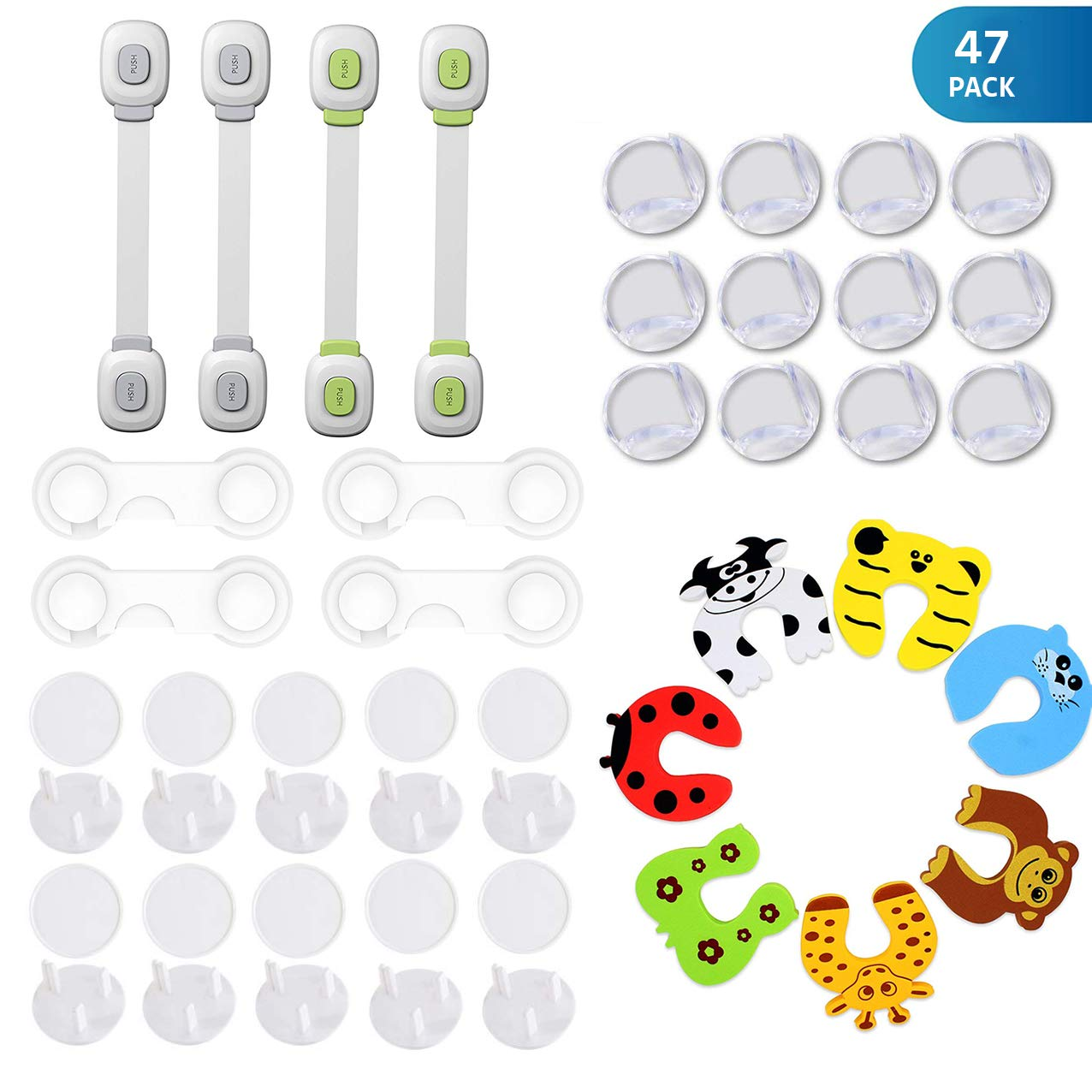 Baby Proofing, Child Safety Kit 37 Piece - 10 Magnetic Cabinet Locks+2 Keys, 12 Clear Corner Protectors, 4 Cabinet Strap Locks, 4 Cupboard Locks, 7 Cute Foam Door Stoppers, No Drill Required Baby Proof Set bejase