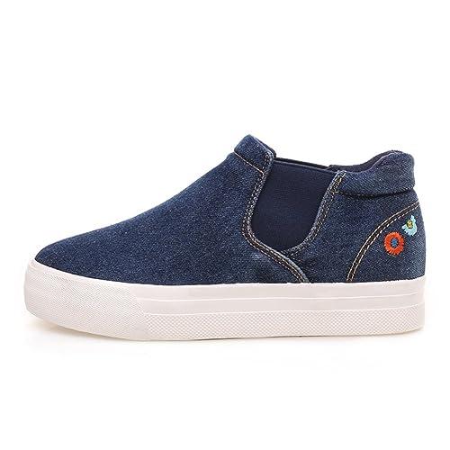 zapatillas alta moda coreana/ lavar zapatos Lok Fu zapatos mujeres/Denim casual planos zapatos