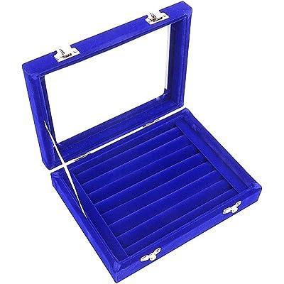 Caja organizadora Ivosmart con 24 secciones de terciopelo y tapa de vidrio para guardar joyas, con exhibidor de anillos o bandeja para aretes., cartón, azul, 7 Slot (Blue)