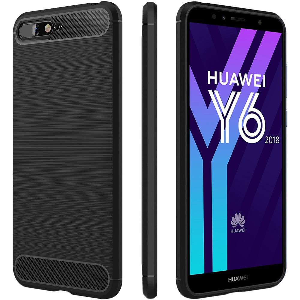 ebestStar - Funda Huawei Y6 2018 [152.4x73x7.8mm, 5.7] Carcasa Estuche Silicona Gel Diseño Fibra Carbono y Absorción Choque, Negro +Cristal Templado ...