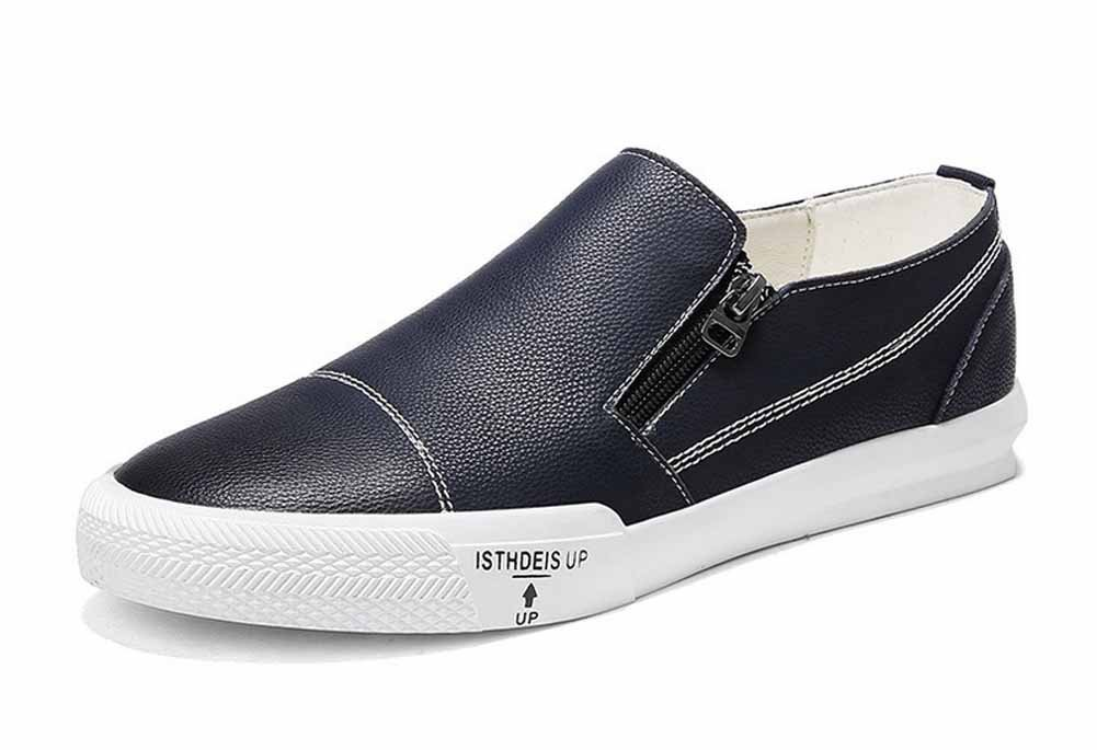 GLSHI Men Casual Leather Loafer 2018 Fashion Side Zipper Skateboard Shoes Lightweight Trainers