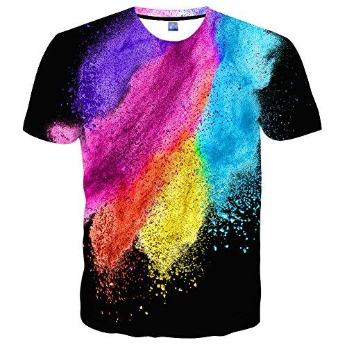 YAJOOEY Unisex Casual 3D Print Short Sleeve T-Shirt Tees S